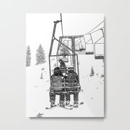 Snow Lift // Ski Chair Lift Colorado Mountains Black and White Snowboarding Vibes Photography Metal Print