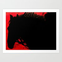 Steed: Cowboy on a Red Sunset Art Print