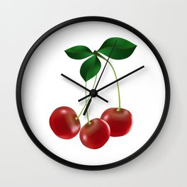 Cherries with leaves Wall Clock