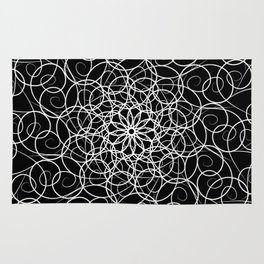 White florid pattern. abstract black and white fractal background pattern in florid Rug