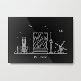 Rotterdam Minimal Nightscape / Skyline Drawing Metal Print