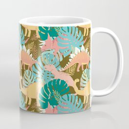 Jungle Dinosaurs on Gold Coffee Mug