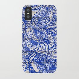 Bright blue china floral mandala stripes wood illustration pattern iPhone Case