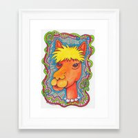 alpaca Framed Art Prints featuring Alpaca by bethparkerart
