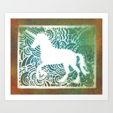 Unicorn Drawing Meditation - Stencil Print #1 Art Print
