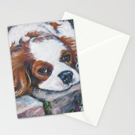 Beautiful Blenheim Cavalier King Charles Spaniel Dog Art Painting by LA.Shepard Stationery Cards