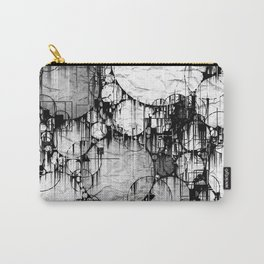 Glitch Black & White Circle abstract Carry-All Pouch