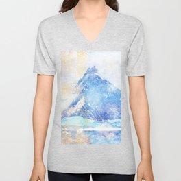 Blue Ice Mountains :: Fine Art Collage Unisex V-Neck