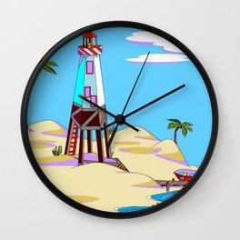 A Lighthouse on the Lazy, Sunny Beach with Palm Trees Wall Clock