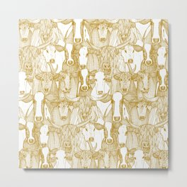 just cattle gold white Metal Print