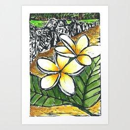 Frangipani Freedom, Puerto Rico (Plumeria alba)   Art Print
