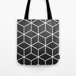 Charcoal and White - Geometric Textured Cube Design Tote Bag