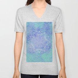 Blue Mandala Pattern Zen Painting Unisex V-Neck