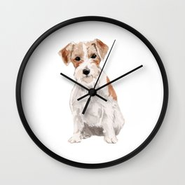 Wired-Haired Jack Russel Terrier watercolors illustration Wall Clock