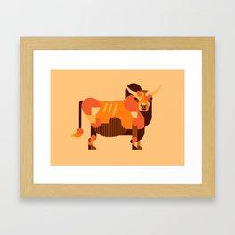 Bull Orange Framed Art Print