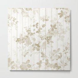 Rustic vintage white wood bohemian brown floral Metal Print