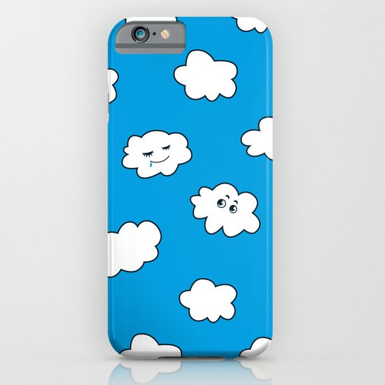 Blue Sky Happy Funny Clouds iPhone & iPod Case