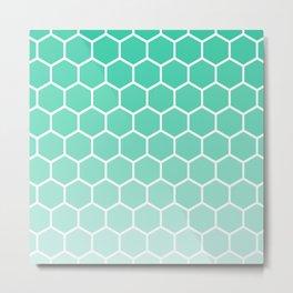 Teal gradient honey comb pattern Metal Print