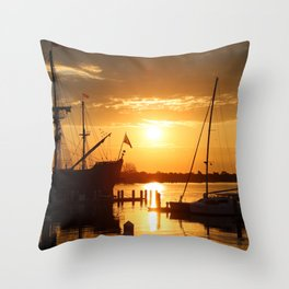 Boat Sunrise 1 Throw Pillow