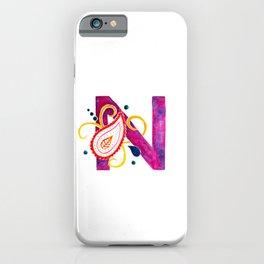 Paisley monogram letter N iPhone Case