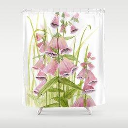 Pink Foxglove Botanical Garden Flower Shower Curtain