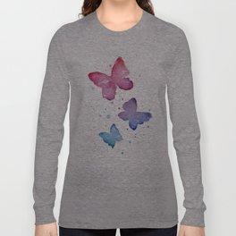 Butterflies Watercolor Abstract Splatters Long Sleeve T-shirt