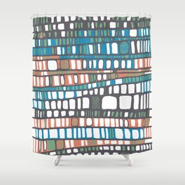 Layers in orange and blue Shower Curtain