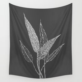 Black and White Botanical Drawing Wall Tapestry