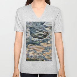 Abstract eroded rocks on beach with puddle Unisex V-Neck