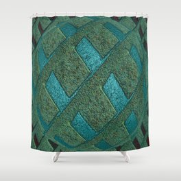 Green Sphere With Blue Globe Shower Curtain