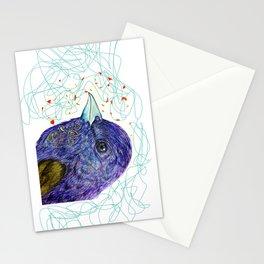 purple bird Stationery Cards