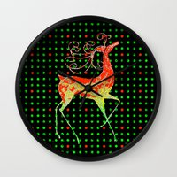 reindeer Wall Clocks featuring Reindeer by Saundra Myles