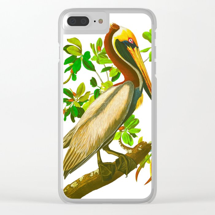 Brown Pelican Vintage Illustration Clear iPhone Case