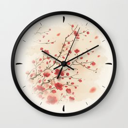 Oriental plum blossom in spring 006 Wall Clock