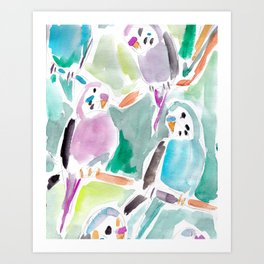 Budgies on Branches Art Print