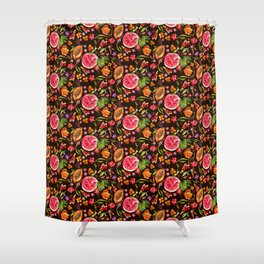 Tropical Fruit Festival in Black | Frutas Tropicales en Negro Shower Curtain