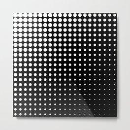 Modern techno shrinking polka dots black and white Metal Print