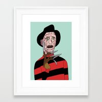 freddy krueger Framed Art Prints featuring Freddy Krueger by Elena Éper