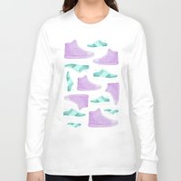 sneakers Long Sleeve T-shirts featuring WATER, COLORS AND SNEAKERS by Catalina Graphic