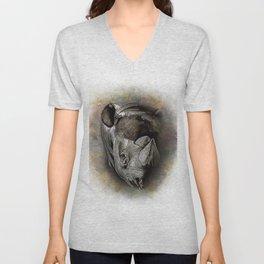 Black Rhino Watercolor Portrait Unisex V-Neck