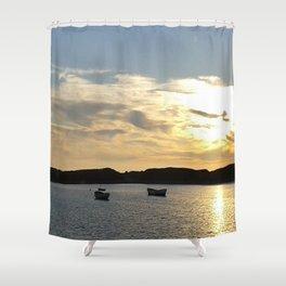 Sunset over Lancashire sea fishing boats  Shower Curtain