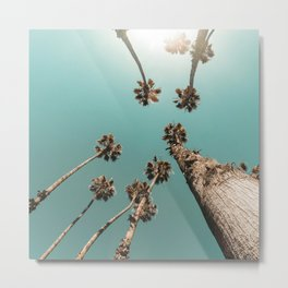 {1 of 2} Palm Trees = Happy // Teal Summer Sky Metal Print
