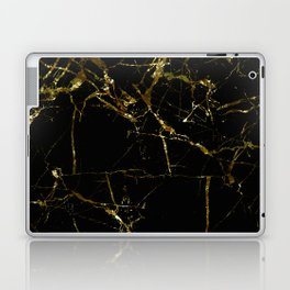 Golden Marble - Black and gold marble pattern, textured design Laptop & iPad Skin
