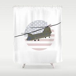 Military CH-47 Chinook Helicopter Shower Curtain