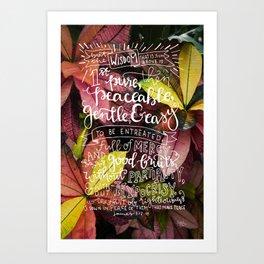 Wisdom  |  James 3:17-18 Art Print