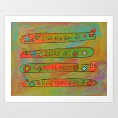 Positive Logger - Longboard Surfboards - Happy Surfers Art Print