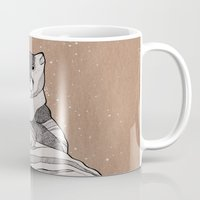 snow leopard Mugs featuring Snow Leopard by Diana Hope