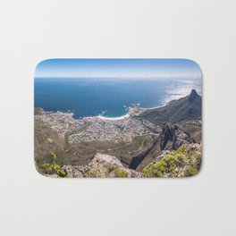 Panoramic view of Camps Bay from Table Mountain in Cape Town, South Africa Bath Mat