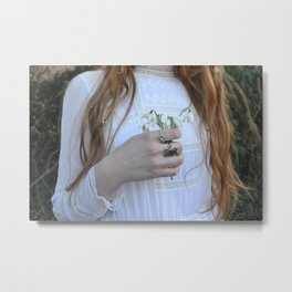 Holding Flowers - Snowdrop Winter Vintage Fashion Style Photograohy Metal Print