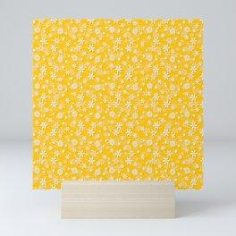 Festive Yellow Aspen Gold and White Christmas Holiday Snowflakes Mini Art Print
